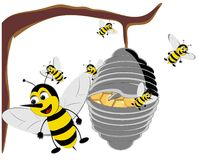 Illustratie van een Bijenkorf Bizzy? Stock Foto