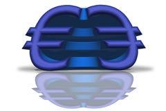 Illustratie van een blauw weerspiegeld Euro teken in het 3D teruggeven vector illustratie