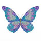 Illustratie van een blauwe vlinder op een witte achtergrond De illustratie wordt getrokken in de stijl van pointillisme stock illustratie