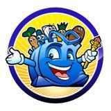 Illustratie van een blauwe zak voedsel Stock Foto's