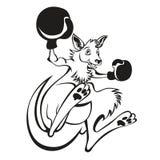 Illustratie van een bokser die van de kangoeroeschop die met bokshandschoenen in dozen doen van kant op achtergrond worden bekeke stock illustratie