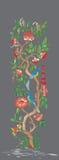 Illustratie van een boom en vogels op een grijze achtergrond Royalty-vrije Stock Fotografie