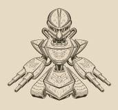 Illustratie van een boze robot die klaar voor worden Royalty-vrije Stock Foto's