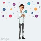 Illustratie van een bureauwerknemer die het tabletscherm voor presentatietoepassingen tonen Stock Fotografie