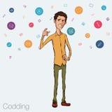 Illustratie van een bureauwerknemer die het tabletscherm voor presentatietoepassingen tonen Royalty-vrije Stock Afbeelding
