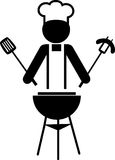 Illustratie van een chef-kok die bbq -1 maakt Stock Afbeelding