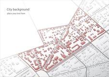 Illustratie van een denkbeeldig districtsplan Een voorbeeld van laag-stijgingsgebouwen van het oude stads` s historische centrum  Royalty-vrije Stock Foto