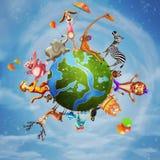 Illustratie van een dierlijke planeet stock illustratie