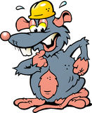 Illustratie van een doen schrikken Rat met gele Helm Stock Afbeeldingen