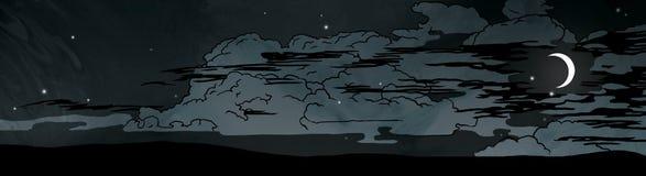 Donkere nachtwolken en maan in de hemelillustratie vector illustratie