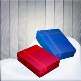 Illustratie van een doos met giften op een houten achtergrond Stock Afbeeldingen