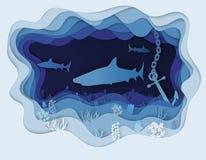Illustratie van een formidabele haai op de jacht Stock Afbeelding