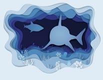 Illustratie van een formidabele haai op de jacht Royalty-vrije Stock Afbeeldingen