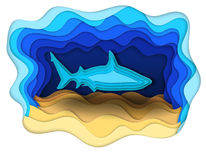 Illustratie van een formidabele haai op de jacht Stock Foto's