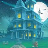 Illustratie van een geheimzinnig spookhuis op een maanbeschenen nacht royalty-vrije illustratie