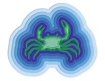 Illustratie van een gelaagde krab in de oceaan Royalty-vrije Stock Afbeeldingen