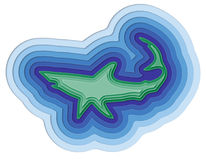 Illustratie van een gelaagde vis in de oceaan Stock Foto