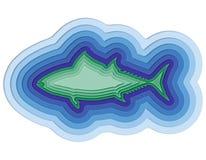 Illustratie van een gelaagde vis in de oceaan Stock Fotografie