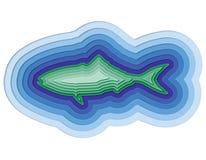 Illustratie van een gelaagde vis in de oceaan Stock Foto's
