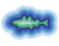 Illustratie van een gelaagde vis in de oceaan Royalty-vrije Stock Afbeeldingen