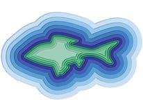 Illustratie van een gelaagde vis in de oceaan Stock Afbeelding