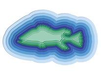 Illustratie van een gelaagde vis in de oceaan Stock Afbeeldingen