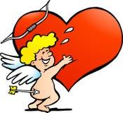 Illustratie van een Gelukkige Jongen van de Engel Amor Royalty-vrije Stock Afbeeldingen