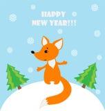 Illustratie van een gelukkige vos in een sneeuwlandschap Stock Afbeelding