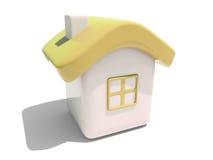 Illustratie van een geïsoleerdt huis met geel dak Stock Foto's