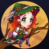 Illustratie van een goede heksenzitting op een boomtak stock illustratie