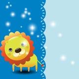 Illustratie van een grappige leeuw met plaats voor tekst Stock Fotografie