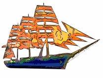 Illustratie van een grappige multi-colored gans met een lange hals  Royalty-vrije Stock Foto's