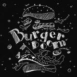 Illustratie van een Hamburger in krijt op een zwarte die Raad wordt, in componenten uit wordt uitgespreid getrokken die royalty-vrije illustratie