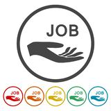 Illustratie van een hand die baan, 6 Kleuren aanbieden vector illustratie