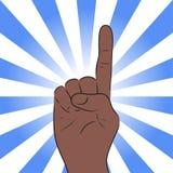 Illustratie van een hand met een opgeheven vinger Stock Afbeeldingen