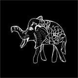 Illustratie van een het lopen olifant met bloemen en patronen aan de kant Krijt op een bord vector illustratie
