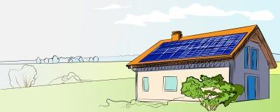 illustratie van een huis met zonnepanelen op het dak Stock Afbeeldingen