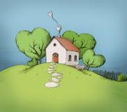 Illustratie van een huis op een heuvel Royalty-vrije Stock Afbeeldingen