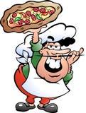 Illustratie van een Italiaanse Pizza Baker Stock Afbeeldingen