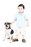 Illustratie van een Jongen en Zijn Hond vector illustratie