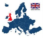 Illustratie van een kaart van Europa met benadrukt Groot-Brittannië Royalty-vrije Stock Afbeeldingen