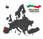 Illustratie van een kaart van Europa met de staat Portugal Stock Fotografie
