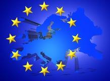 Illustratie van een kaart van Europese Unie en de EU-vlagillustratie Stock Afbeeldingen