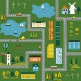 Illustratie van een kaart van de stad. Royalty-vrije Stock Afbeelding