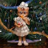 Illustratie van een kat bij de Kerstboom vector illustratie