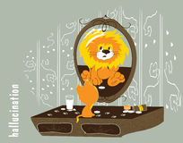Illustratie van een kat die een leeuw hallucineert te zijn Stock Foto's