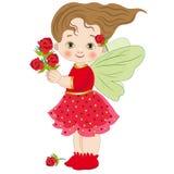 Illustratie van een klein meisje dat de fee van rozen vertegenwoordigt Stock Afbeeldingen