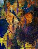 Illustratie van een kleurenvlinder, gemengd middel, structuurachtergrond Royalty-vrije Stock Foto