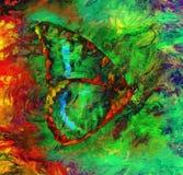 Illustratie van een kleurenvlinder, gemengde middelgrote, abstracte kleurenachtergrond Royalty-vrije Stock Afbeeldingen