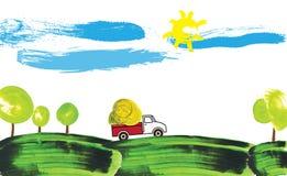 Illustratie van een landbouwersvrachtwagen die aan een landbouwbedrijf werkt Royalty-vrije Stock Fotografie